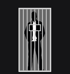 Man silhouette in jail vector