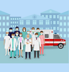 Medical team group doctors and nurses with vector