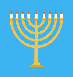 menorah isolated for ewish holiday traditional vector image