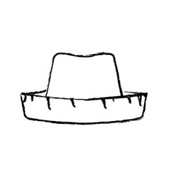 Monochrome blurred silhouette of straw hat vector