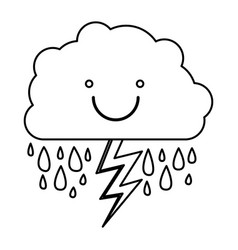 Monochrome contour of smiling cloud with rain and vector