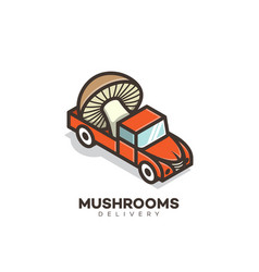 mushrooms delivery logo vector image