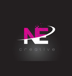 Ne n e creative letters design with white pink vector