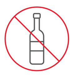 no alcohol thin line icon prohibition forbidden vector image