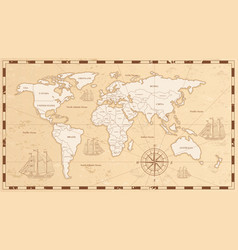 old world map flat ancient vector image