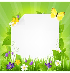 Paper With Flowers And Grass vector