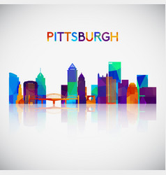 Pittsburgh skyline silhouette in colorful vector