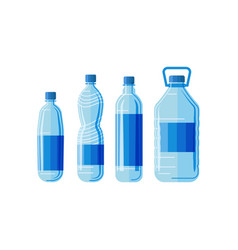 plastic bottles set on white background vector image