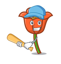 Playing baseball poppy flower character cartoon vector
