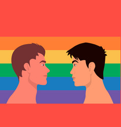 portrait cute two young men gay couple look vector image