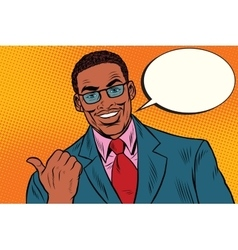 Positive African businessman showing thumb vector