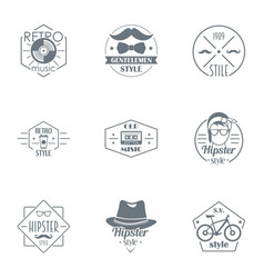 Retro hipster logo set simple style vector