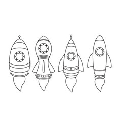 rocket icon set isolated on white background vector image