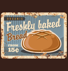 Round wheat bread rusty metal plate vector