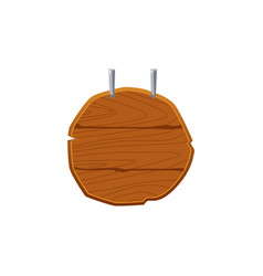 round wooden shop sign template hanging from above vector image