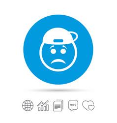 Sad rapper face sign icon sadness symbol vector