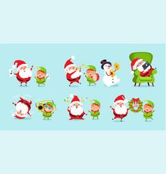 Santa elf cartoon characters advertisement posters vector