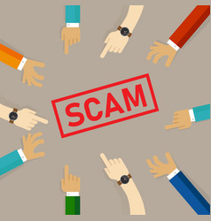 scam alert hand pointing together to text vector image