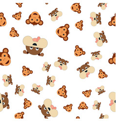 seamless pattern of monkey head and dogs vector image
