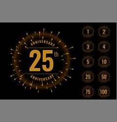set anniversary logotype emblem set vector image