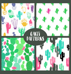 set of cacti seamless patterns vector image