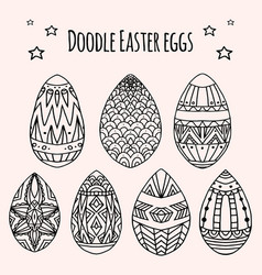 Set of festive doodle eggs with boho pattern vector