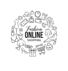 Set of online fashion shopping icons vector