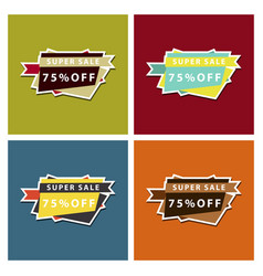 set of sale banner template design discount icons vector image