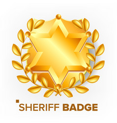 sheriff badge golden star sevurity emblem vector image