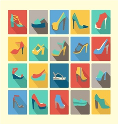 shoes set icons set of fashion Footwear vector image