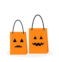 Shopping paper bag handle set pumpkin sad smile vector
