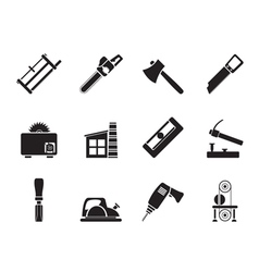 Silhouette Woodworking industry vector image