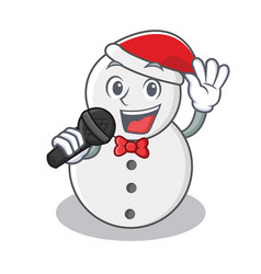 Singing snowman character cartoon style vector