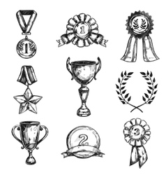 Sketch Medal Design Icon Set vector image vector image