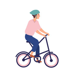 Smiling man in helmet riding portable bike happy vector