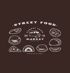 stock set of fast food icons and elements vector image