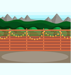 Sunny back yard with fence decorated with garland vector