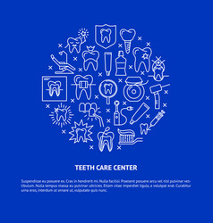 Teeth care center round concept banner in thin vector