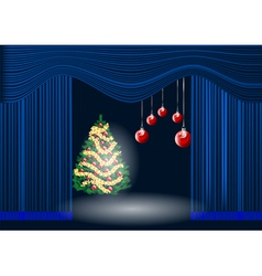 Theatre curtain and christmas tree vector