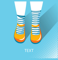 Top view of girl feet with summer shoes vector
