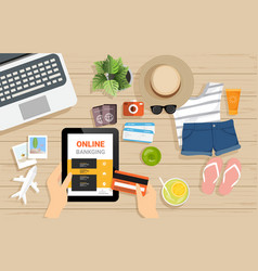 top view shopping online with notebook vector image