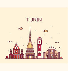 turin skyline northern italy trendy style vector image