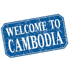 Welcome to Cambodia blue square grunge stamp vector