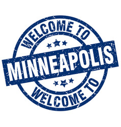 Welcome to minneapolis blue stamp vector