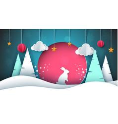 winter landscape paepr rabbit sun vector image