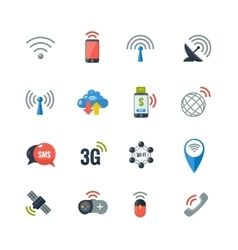 Wireless Technology Flat Icons Set vector