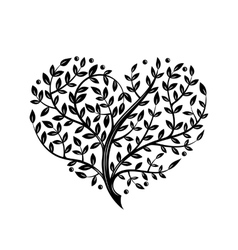 With branch heart Tattoo vector