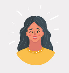 Woman happy and surprised face vector