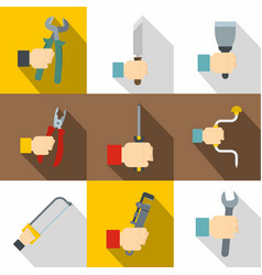 worker hand icons set flat style vector image