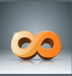 yellow infinity realistic 3d icon vector image